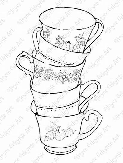 Stack Coloring Teacups Drawing Flowers Stamp Books