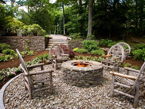gas fireplace river rocks diy backyard pit ideas all the accessories you ll