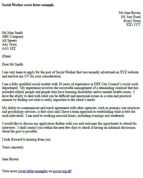 social worker cover letter  cover letter examples