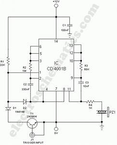 Warning Alarm Circuit With Cd4001