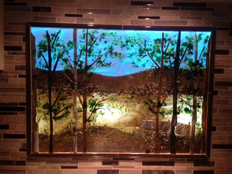 backlit kitchen lake scene designer glass mosaics