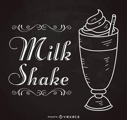 Milkshake Sign Retro Outline Typography Drawn Illustration