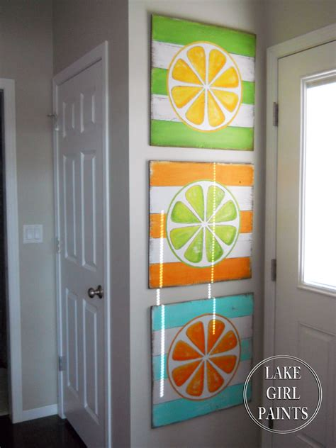 lake girl paints diy wall art citrus stripes
