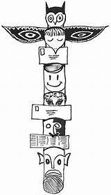 Totem Coloring Native Poles Pole Faces Template Tiki Beaver Printable Popular Library Clipart Coloringhome sketch template