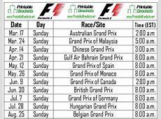 F1 Schedule Formula One Schedule Formula 1 Schedule
