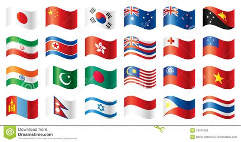 set asifa wavy flags set asia oceania royalty free stock images
