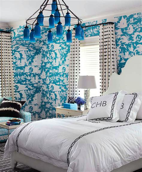 turquoise toile wallpaper contemporary bedroom house
