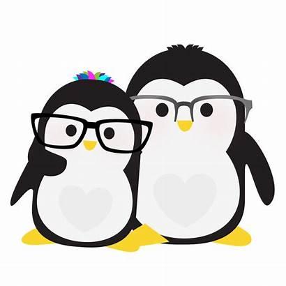 Clipart Penguin Penguins Glasses Penquin Row Wearing