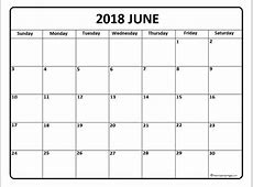 June 2018 Calendar monthly printable calendar