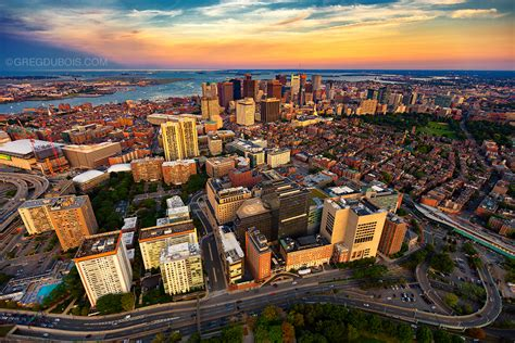 aerial view  boston skyline  sunset  helicopter wi flickr