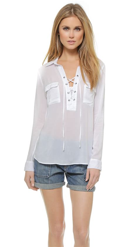 lace up blouses splendid lace up blouse in white lyst