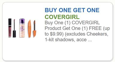 covergirl printable coupons covergirl buy one covergirl product get one free 21215 | Covergirl B1G1 free up to 9 99 printable coupon