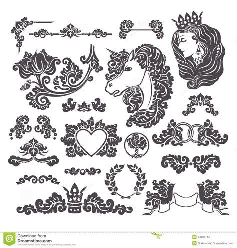 medieval decorative wedding set stock vector