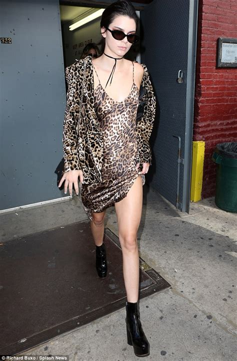 kendall jenner braless  leopard print negligee