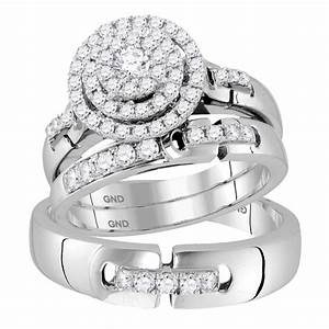 14kt white gold his hers round diamond cluster matching With his and hers wedding rings white gold
