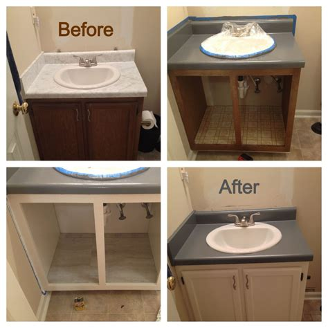 Painting Laminate Bathroom Cabinets - bathroom renovation on a mega budget i used rustoleum