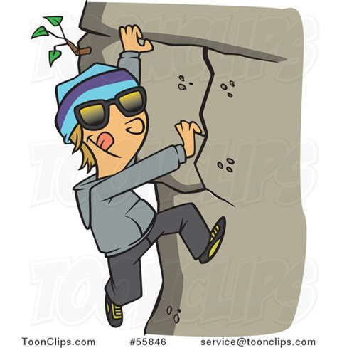 Cartoon White Boy Climbing A Mountain #55846 By Ron Leishman