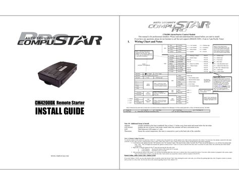 Wiring Harnes Install Manual by Compustar Cm4200dx User Manual 4 Pages