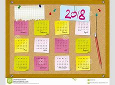 2018 Calendar Week Starts On Sunday Cork Board With