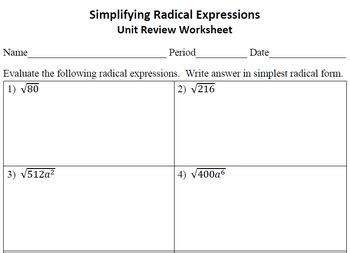 Math Worksheets Simplifying Radicals Math Best Free Printable Worksheets