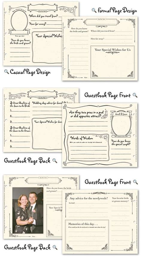 wedding guest book pages page design  wedding