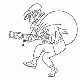 Thief Coloring Robber Criminal Colouring Cartoon Dief Voleur Ladro Colorante Pagina Farbseite Criminel Coloriage Avec Kleurpagina Crimineel Bag Sybirko Illustrations sketch template