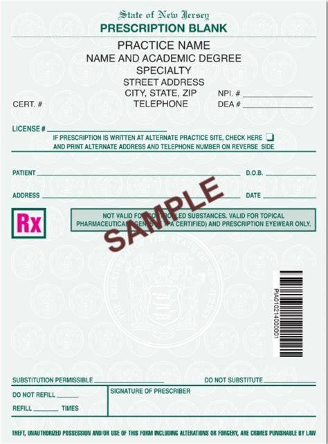 jersey approved prescription script pads