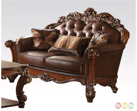 oversized sofa and loveseat vendome oversized formal sofa loveseat set in brown
