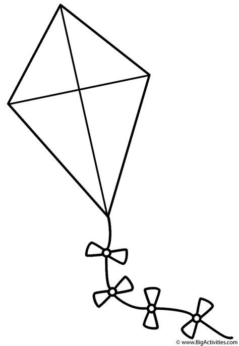 kite  bows coloring page spring