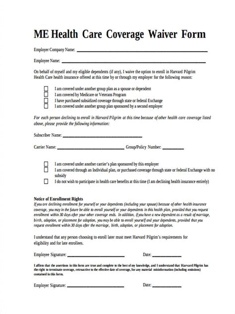 health care exemption forms samples examples formats