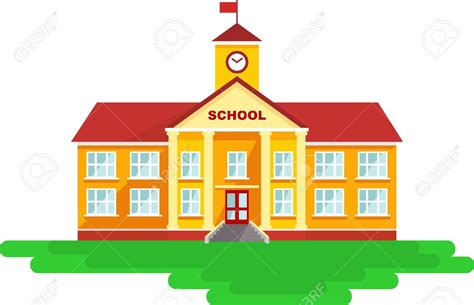 Pencil And In Color Background Clipart School Building