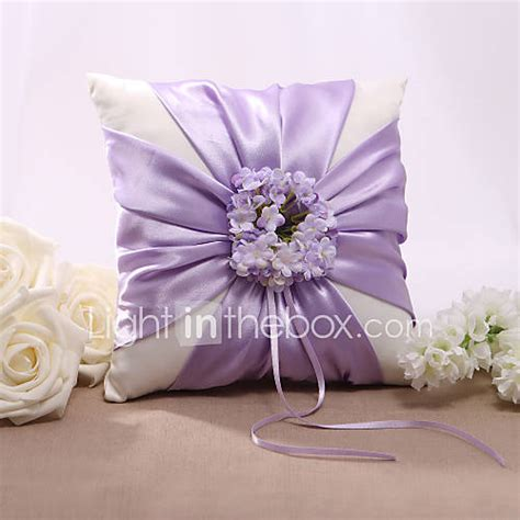 lilac floral design satin wedding ring pillow 502525 2017 9 99