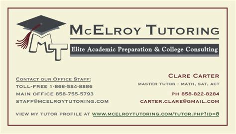 Tutoring Business Plan Template by Mcelroy Tutoring Personalized Business Cards For Mcelroy