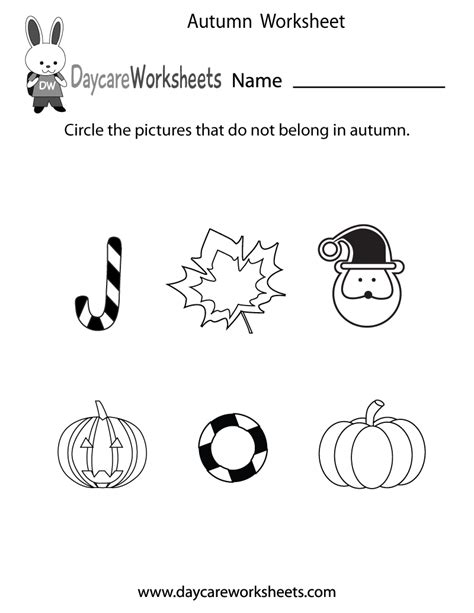 preschool autumn worksheet