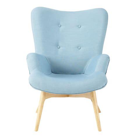 chambre ado petit espace fauteuil vintage en tissu bleu iceberg maisons du monde