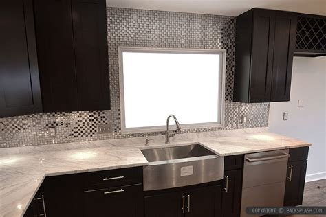 backsplash for espresso cabinets espresso dark cabinet metal backsplash tile backsplash