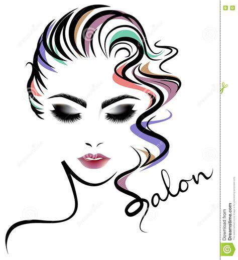 women short hair style icon logo women face  white