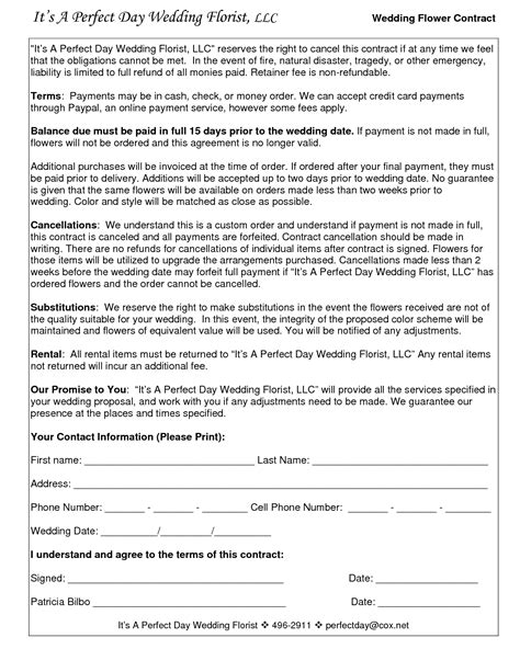Wedding Florist Contract Template wedding flower contracts documents flower