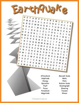earthquake word search puzzle  puzzles  print tpt