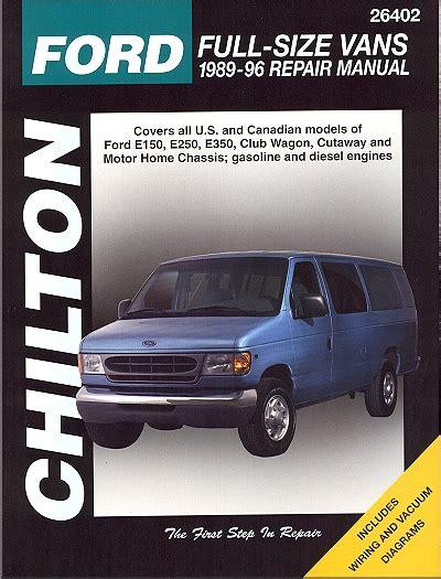 ford econoline van repair manual  chilton