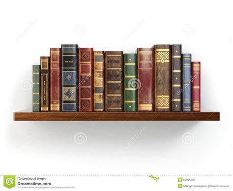 on a shelf vintage books on shelf isolated on white stock