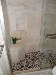 elegant shower remodel travertine and pebble simply With using pebbles for unique natural decorating bathroom ideas