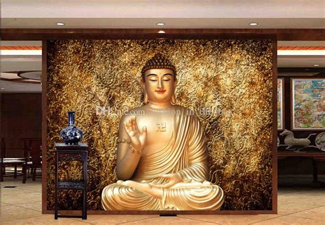 golden buddha photo wallpaper buddhist temple wall mural