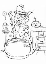 Coloring Halloween Pages Witch Potion Cooking Witches Colouring Making Glinda Print Funschool Printable Procoloring Painting Sheets Happy Adult Pic Books sketch template