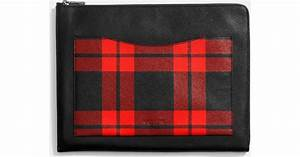coach mount plaid document case in pebble leather in red With coach document case