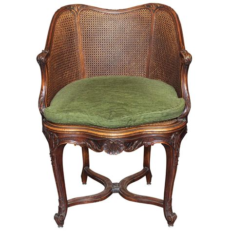 19th Century French Caned Desk Chair At 1stdibs