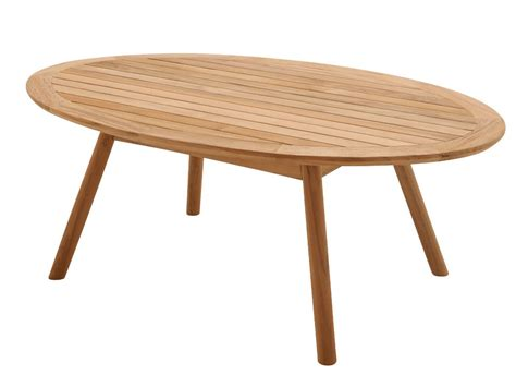 oval teak garden side table dansk collection by gloster