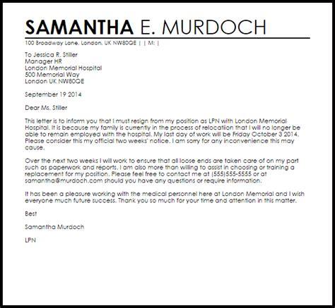 resignation letter  due  relocation letter