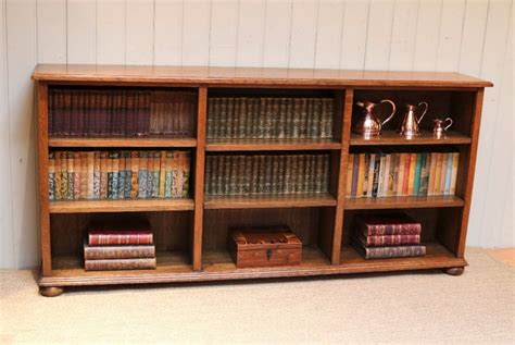 low wide open oak bookcase 457165 sellingantiques co uk
