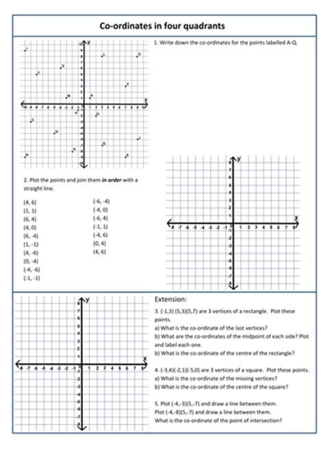 coordinates worksheets ks2 4 quadrants coordinates in 4 quadrants by kittykat 102 teaching